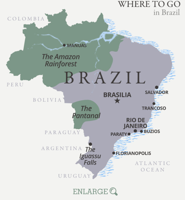 Where to go in Brazil map