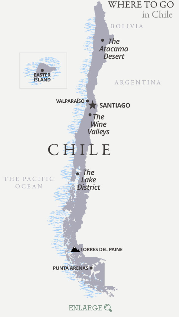 Where to go in Chile map