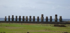 A line of Moia in Easter Island